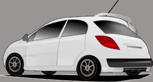 מכונית בצבע לבן